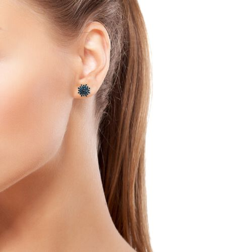 Blue Diamond (Bgt) Snow Flake Earrings (with Push Back) in Platinum and Blue Overlay Sterling Silver 0.33 Ct.