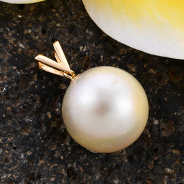 ILIANA 18K Yellow Gold  White South Sea Pearl Pendant