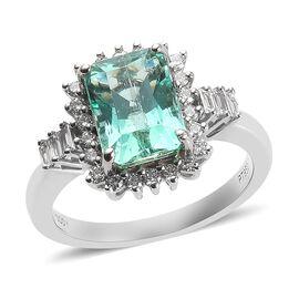 RHAPSODY 3.40 Ct AAAA Boyaca Colombian Emerald and Diamond Halo Ring in 950 Platinum VS EF