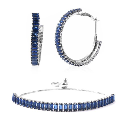 2 Piece Set - Simulated Blue Sapphire Adjustable Bolo Bracelet (Size 6-9) and Earrings (with Clasp)