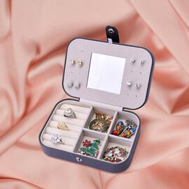 Portable and Lightweight Jewellery Organiser with Button Closure and Inside Mirror in Grey Colour (S