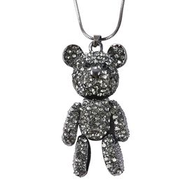 Grey and Black Austrian Crystal Teddy Bear Pendant with Chain in Black Tone