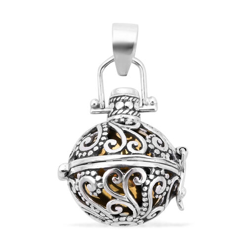 Royal Bali Collection - Russian Diopside Harmony Ball Pendant in Yellow Gold Overlay Sterling Silver