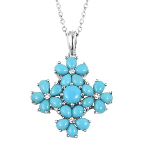 Arizona Sleeping Beauty Turquoise (Rnd), Natural White Cambodian Zircon Floral Pendant With Chain (S