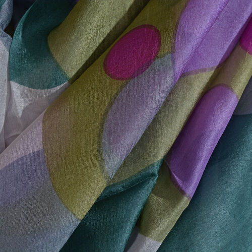 100% Mulberry Silk Circle Pattern Pink, Purple, White and Multi Colour Scarf (Size 180x100 Cm)