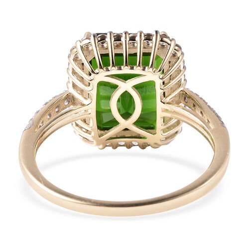 Extremely Rare Size 9K Y Gold Russian Diopside (Oct 12x10mm)  and Natural Cambodian Zircon Ring 6.86 Ct.