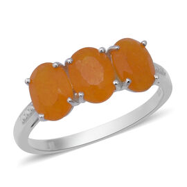 Yellow Jade (Ovl) Trilogy Ring (Size J) in Sterling Silver 3.58 Ct.
