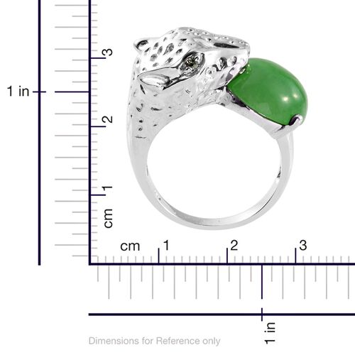Green Jade (Rnd), Green Sapphire Leopard Head Ring in Platinum Overlay Sterling Silver 10.750 Ct.
