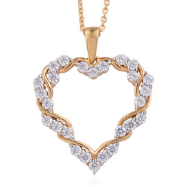 J Francis - 14K Gold Overlay Sterling Silver (Rnd) Heart Pendant With Chain (Size 18) Made With SWAR