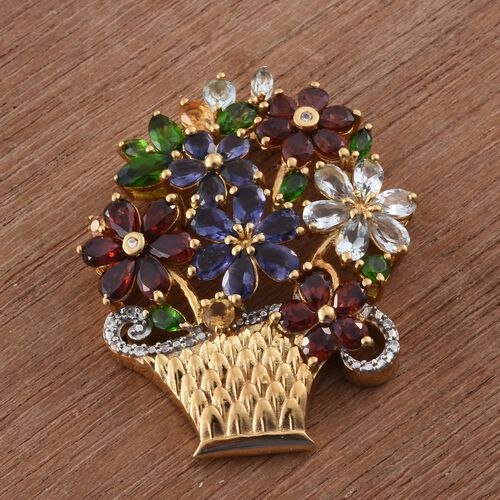 Designer Inspired- Iolite (Pear), Russian Diopside, Sky Blue Topaz, Citrine, Mozambique Garnet and Multi Gemstone Flower Bouquet Pendant in 14K Gold Overlay Sterling Silver 8.680 Ct.
