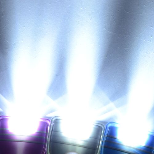 6 Piece Set - Portable Waterproof LED Flat Torch Blue, Purple and Dark Grey