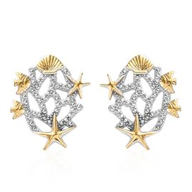 Platinum and Yellow Gold Overlay Sterling Silver Stud Earrings (with Push Back)
