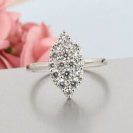 J Francis Platinum Overlay Sterling Silver Ring Made with SWAROVSKI ZIRCONIA 1.50 Ct
