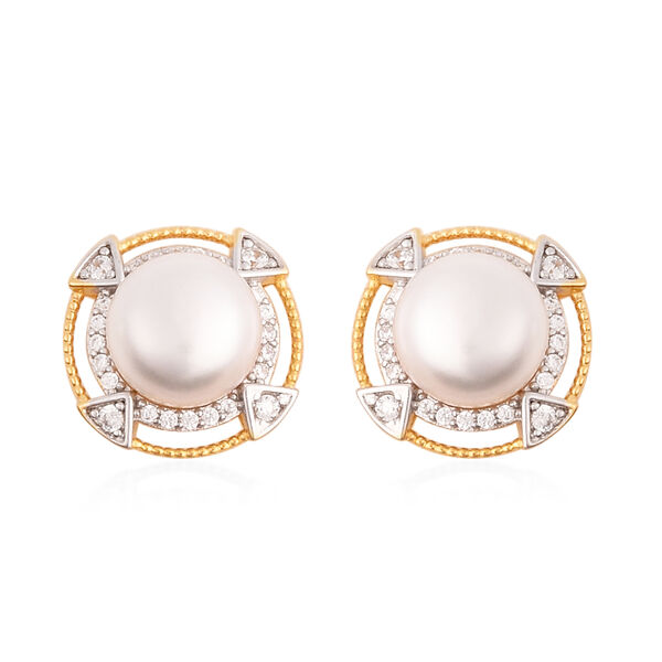 Freshwater White Pearl, Simulated Diamond Detachable Stud Earrings (with Push Back) in Two Tone Over
