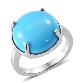 RHAPSODY 950 Platinum AAAA Arizona Sleeping Beauty Turquoise (Rnd) Solitaire Ring 8.250 Ct, Platinum wt 6.23 Gms.