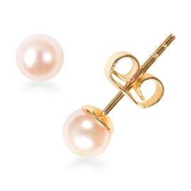 Japanese Akoya Pearl (Rnd) Stud Earrings (with Push Back) in Yellow Gold Overlay Sterling Silver