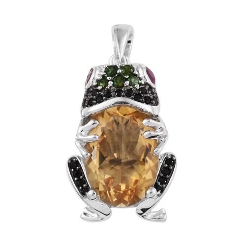 GP Citrine and Multi Gemstones Frog Pendant in Platinum Plated Sterling Silver