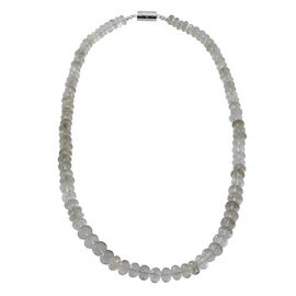 200 Carat Green Amethyst Beaded Necklace with Magnetic Clasp in Rhodium Plated Silver Free Size
