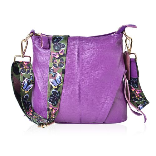 100% Genuine Leather Lavender Colour Crossbody Bag with Butterfly Pattern Removable Shoulder Strap (Size 25x23x8)