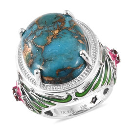 GP Blue Turquoise (Ovl 16.78 Ct), Mozambique Garnet and Kanchanaburi Blue Sapphire Enameled Ring in