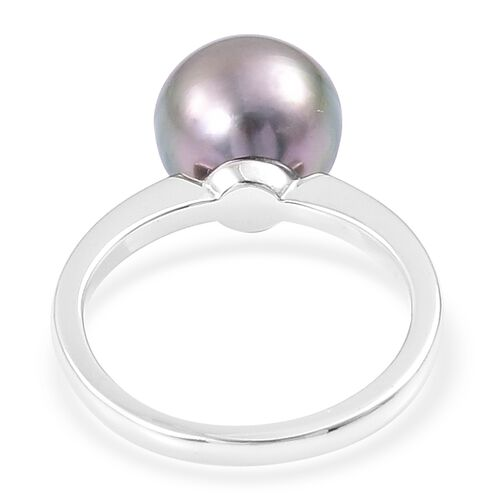 Limited Edition - Tahitian Pearl (Rnd 11-12mm) Ring in Platinum Overlay Sterling Silver