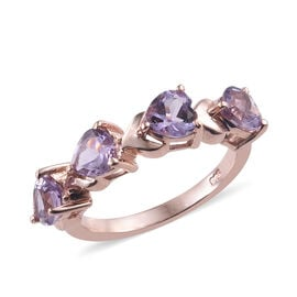Rose De France Amethyst (Hrt) Ring in Rose Gold Overlay Sterling Silver 1.500 Ct.