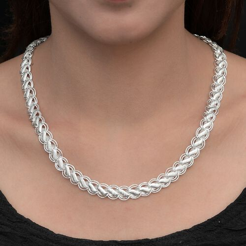 Close Out Deal- Fancy Link Sterling Silver Necklace (Size 20 with 1.5 Inch Extender), Silver wt 38.42 Gms