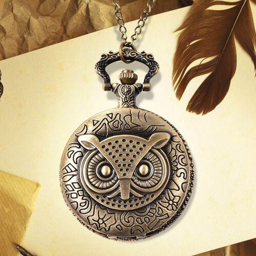 STRADA Japanese Movement Owl Pattern Pocket Watch with Chain (Size 31) in Antique Bronze Plated