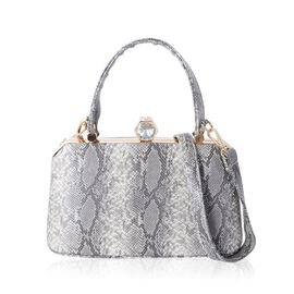 Boutique Collection Grey Colour Snake Skin Pattern Tote Bag with Removable Shoulder Strap (Size 26x1