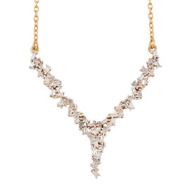 Diamond (Tapered Baguette) Firecracker Necklace (Size 18) in 14K Gold Overlay Sterling Silver  0.500  Ct.
