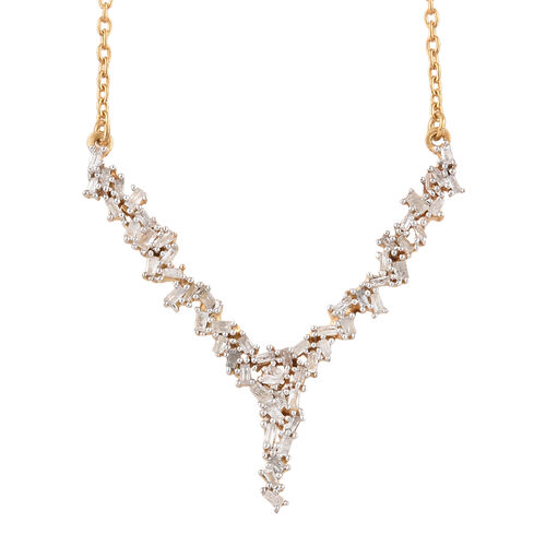 Diamond (Tapered Baguette) Firecracker Necklace (Size 18) in 14K Gold Overlay Sterling Silver  0.500