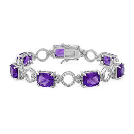 20.86 Ct Amethyst and Zircon Bracelet in Rhodium Plated Silver 13.20 Grams 7 Inch