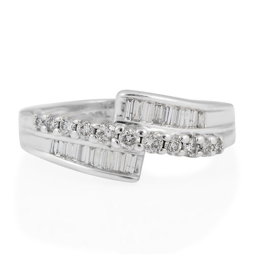 14K White Gold (I1/G-H) Diamond (Rnd) Bypass Ring 0.407 Ct.