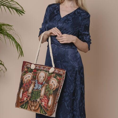 Christmas Collection Three Bears Print Jute Tote Bag (Size 42x34x9x37cm) - Brown
