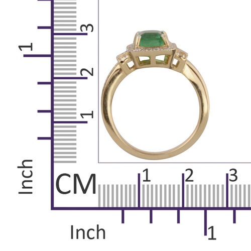 ILIANA 18K Yellow Gold AAA Boyaca Colombian Emerald (Oct) Diamond (SI/G-H) Ring 1.830 Ct.