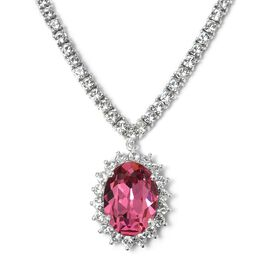 J Francis Crystal from Swarovski - Rose Colour Crystal (Ovl), White Crystal Necklace (Size 18 with 2