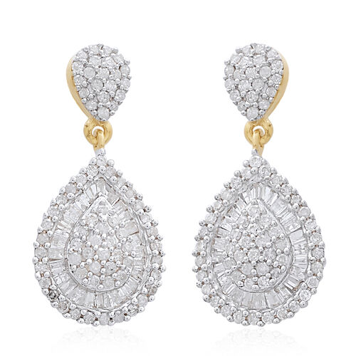 Limited Edition - 9K Yellow Gold SGL Certified Diamond (Rnd) (I3/G-H) Tear Drop Earrings 1.000 Ct. Number of Diamonds 172