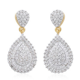 9K Yellow Gold SGL Certified Diamond (Rnd) (I3/G-H) Drop Earrings (with Push Back) 1.000 Ct.