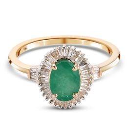 9K Yellow Gold Premium Kagem Zambian Emerald and White Diamond Ring