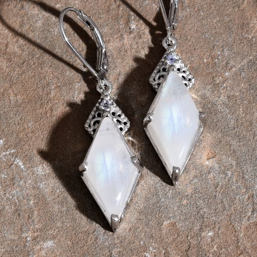 Sri Lankan Rainbow Moonstone and Tanzanite Lever Back Earrings in Platinum Overlay Sterling Silver 13.760 Ct.