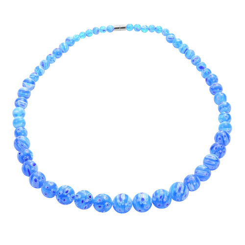 3 Piece Set -  Blue Murano Glass Necklace (Size 20 with Magnetic Lock), Stretchable Bracelet (Size 6.5) and Hook Earrings