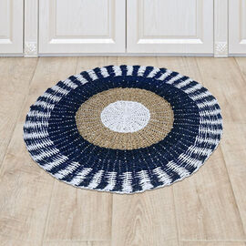 Bali Collection - 100% Handmade Woven Seagrass Rug (Size:100x1x100Cm) - White and Navy