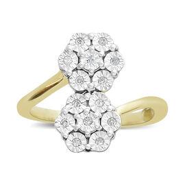 Diamond (Rnd) Flower Ring in 14K Gold Overlay Sterling Silver  0.100 Ct.
