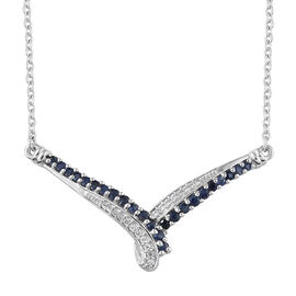 Kanchanaburi Blue Sapphire (Rnd), Natural White Cambodian Zircon Necklace (Size 18) in Platinum Overlay Sterling Silver