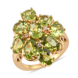 AA Hebei Peridot, Natural Cambodian Zircon Cluster Ring in 14K Gold Overlay Sterling Silver 8.00 Ct,