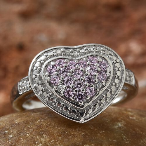 J Francis - Platinum Overlay Sterling Silver (Rnd) Heart Ring Made with Pink and White SWAROVSKI ZIRCONIA