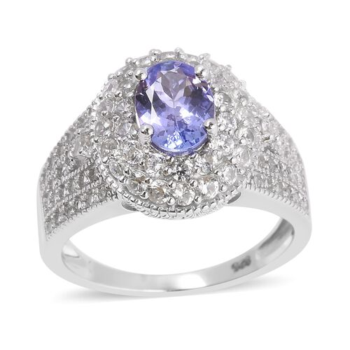 Deep Blue Tanzanite (Ovl8X6), Natural White Cambodian Zircon Ring in Rhodium Overlay Sterling Silver