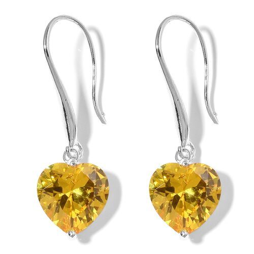 2 Piece Set  - Simulated Yellow Sapphire (Hrt 8 mm) Heart Pendant With Chain (Size 18 with 2 inch Extender) and Hook Earrings in Stainless Steel