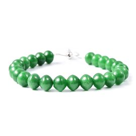 140 Ct Very Rare Green Jade Beaded Adjustable Bracelet in Rhodium Plated Silver 6.5 to 10 Inch