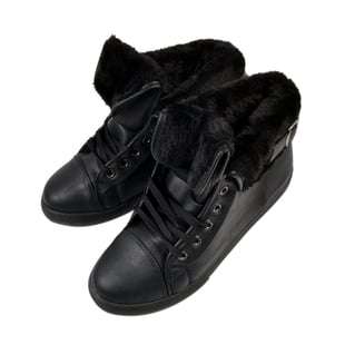 Womens Flat Faux Fur Lined Grip Sole Winter Ankle Boots - Black
